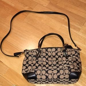 Coach crossbody bag made of leather and material